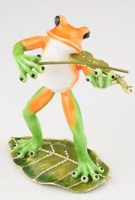 Frog playing Violin trinket box by Keren Kopal Austrian Crystal Jewelry Faberge
