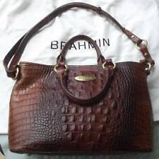 BRAHMIN Embossed Croc Pecan Leather Purse ~ Handles & Shoulder Strap