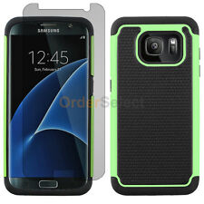 Hybrid Rubber Case+LCD Screen Protector for Android Samsung Galaxy S7 Edge Green