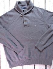 Tommy Hilfiger Sweater Mens XXL 100% Cotton Cowichan Pull Over Gray Grey