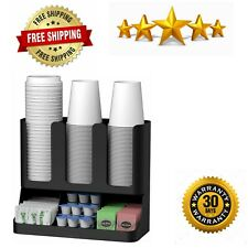 Cup and Lid Holder Organizer Coffee Stand Station Office Dispenser
