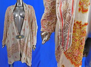 Edwardian Jacquard Loom Linen Paisley Cocoon Coat Egyptian Revival Buckle Clasp