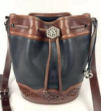 Brighton Vintage Handbag Bucket Bag Black Brown Crossbody Cutout Purse