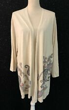 J Jill Womens Plus 3x Beige Paisley Print Cotton Blend Open Cardigan Sweater NWT
