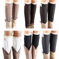 Women Winter Warm Soft Wool Lace Knitted Twist Leg Warmers Boot Cover Socks 2019