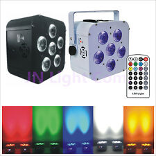 12pcs/lot 6X18W RGBWA+UV 6IN1 DMX Battery Remote Control Led Par Uplight+Flycase