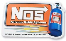NOS Tin Sign Nitrous Oxide Systems Metal Garage Shed Man Cave Drag Race Burnout