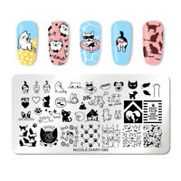 NICOLE DIARY Rectangle Nail Stamping Plates Cute Dog Nail Stamp Image Plate 066