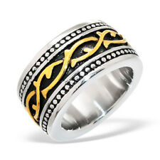Mens Surgical Stainless Steel Silver Black/Gold Gothic Patterned Ring Size T/10