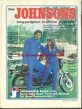Johnsons Clothing Motorcycle 1978 Magazine Advert #1824