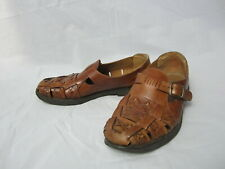 David Taylor Brown Woven Leather Loafer With Buckle Sergio Shoe Men's Size 9.5 D