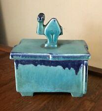 Vintage Stylized Camel GOEBEL ART DECO CIGARETTE Trinket BOX Blue Pottery