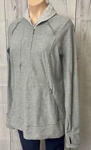 Lululemon Think Fast 1/2 Zip Long Sleeve Pullover Heather Slate Gray Logo 12 WOW