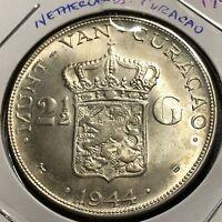 1944  NETHERLANDS  CURACAO SILVER 2 1/2 GULDEN BRILLIANTUNCIRCULATED CROWN COIN