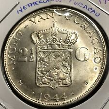 1944  NETHERLANDS  CURACAO SILVER 2 1/2 GULDEN BRILLIANTUNCIRCULATED CROWN COIN