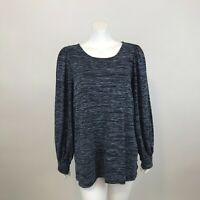 Max Studio Sweater XL Blue Space Dye Long Bubble Sleeve Scoop Neck Tunic