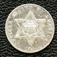 1861 Three Cent Piece Silver Trime 3c High Grade UNC #13842