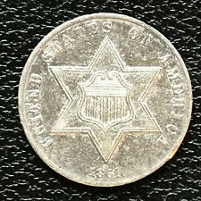 1861 Three Cent Piece Silver Trime 3c High Grade UNC #13842
