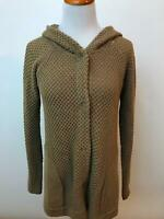 SPARROW Anthropologie brown hooded cotton blend cardigan sweater Women's S