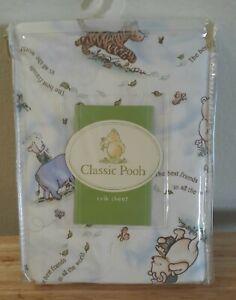 "Classic Winnie The Pooh Fitted Crib Sheet Baby Pooh Best Friends 52"" x 28"" NIP"