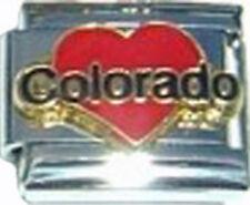 Italian Charm Enamel Love heart Colorado CO US State