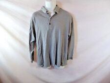 Men's GREG NORMAN Grey and White Striped Long Sleeve Polo Shirt - Sz L