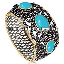 Victorian Estate 8.99ct Pave Rose Cut Diamond Turquoise Silver Jewelry Bracelets