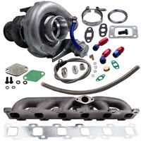 T3 T4 Turbo Manifold +Oil Return Feed Line Kit for Nissan Patrol Safari GQ TD42