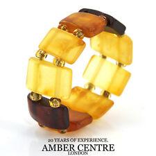 German Baltic Opaque Yellow & Cognac Amber Handmade Elastic Ring RB001 RRP£35!!!