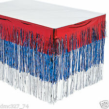 4th of July PATRIOTIC Election Party Decoration Metallic Fringe TABLE SKIRT
