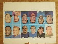 1969 Glendale NEW YORK GIANTS National Football League Uncut Sheet of 12 Stamps