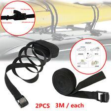 2PCS Car SUV Roof Luggage Rack Surfboard Kayak Surf Tie Down Straps 3meter Black
