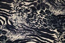 italienischer Jersey Stoff Tiger Leo grau Feinjersey Meterware #01146