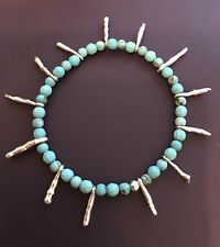 Turquoise And Sterling Silver Bracelet Handmade New