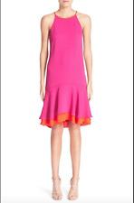 NWT $368 DIANE VON FURSTENBERG KERA COMBO VIVID PINK ORANGE DRESS 14
