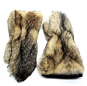Long men's coyote fur mittens