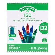 New ! Holiday Time 16-Function 150 Multicolor Mini Lights, 36 FT Long Green Wire
