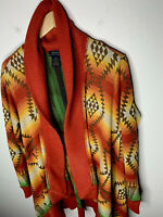 Polo Ralph Lauren X-Large Wrap Sweater Southwestern Indian Serape RRL Aztec Red