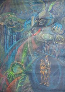 Vintage surrealist pastel drawing fantasy landscape figures