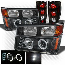 For 04-12 Colorado, Canyon Blk Halo Projector Headlights w/LED + Tail Lights