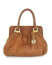 Charles Jourdan Sara Tan Leather Brown H1059 Fringed purse bag Satchel Camel NEW