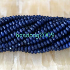 Natural 2x4mm Faceted DARK Blue Sapphire Abacus Gems Loose Beads 15''