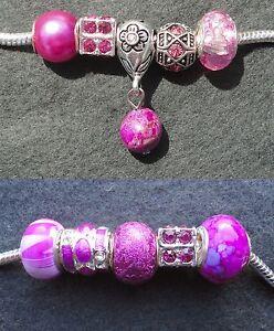 5 Cerise Pink Mix Glass Rhinestone Agate Beads fit European Style Charm Bracelet