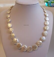 Genuiner13-14mm coin freshwater pearl necklace chain white L50cm