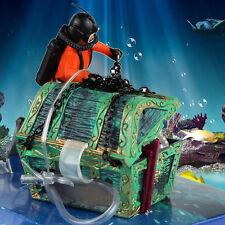 1x Frogman Diver Treasure Fish Tank Chest Shaped Action Air Ornament Aquarium R