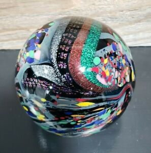 Rollin Karg Dichroic paperweight Signed