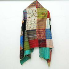 Silk Kantha Scarf Head Wrap Stole patchwork Hand Quilted Women Shawl Stitched
