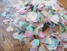 2 HANDFULS MINT & SOFT PINK ,IVORY AND GREY HEARTS CONFETTI WEDDING/THROWING/ECO