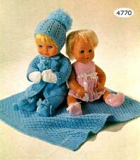 "Vintage Doll's Set All Clothes & Blanket 12"" 14"" 16"" doll 4 Ply Knitting Pattern"