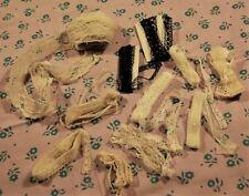 Handmade Lace Vintage French LOT of 11 Black White UNUSED Narrow Intricate NOS